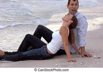 conversation, couple, plage, séance