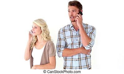 conversation, couple, séduisant, jeune
