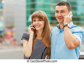 conversation, couple, téléphone