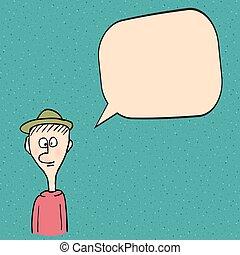 conversation, dessin animé, homme