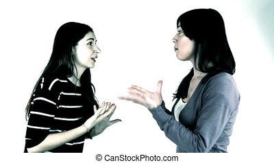 conversation, deux, petites amies, inquiété