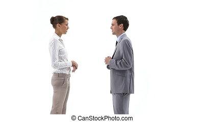 conversation, deux, professionnels