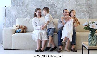 conversation, divan, famille, séance