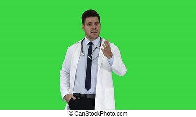 conversation, docteur, chroma, écran, espiègle, confiant, appareil photo, vert, key., mâle, amical