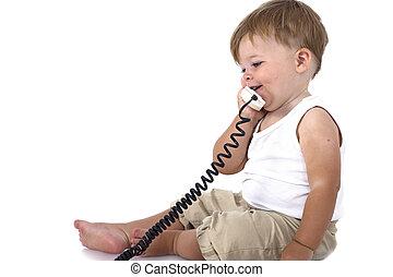conversation, dorlotez garçon, téléphone, beau