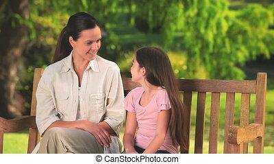 conversation, elle, fille, mère