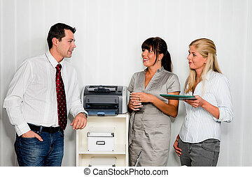 conversation, employés, bureau