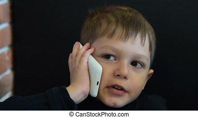 conversation, enfant, téléphone
