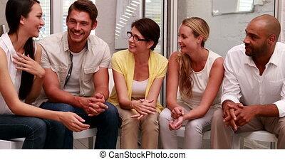 conversation, ensemble, equipe affaires