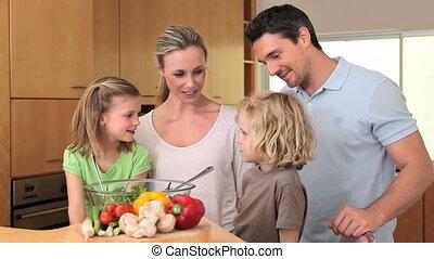 conversation, ensemble, famille