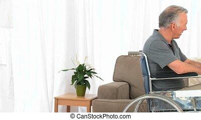 conversation, fauteuil roulant, sien, homme, épouse