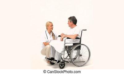 conversation, fauteuil roulant, sien, infirmière, homme
