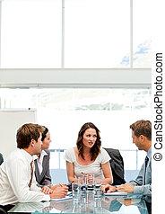 conversation, femme affaires, équipe, elle, charismatic
