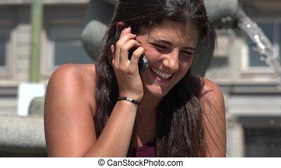 conversation, femme, rire, téléphone