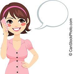 conversation, femme, smartphone
