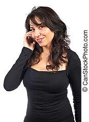 conversation, femme souriante, téléphone