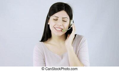conversation, femme, téléopérateur