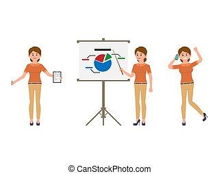 conversation, femme, téléphone bureau, notes, caractère, présentation, confection, dessin animé