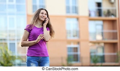conversation, femme, téléphone