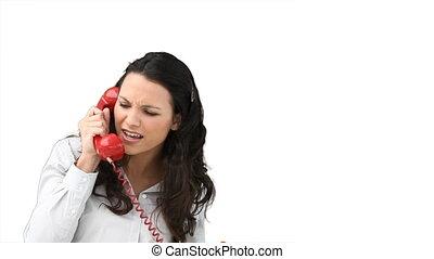 conversation, femme, téléphone, colère