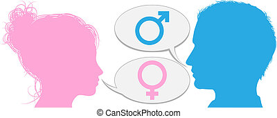 conversation, femme, têtes, homme