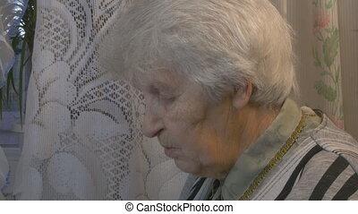 conversation, femme, vieux, portrait