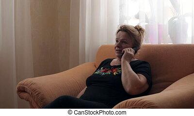conversation, femme, vieux, téléphone
