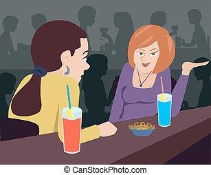 conversation, femmes, deux, compteur, barre