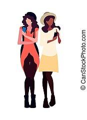 conversation, femmes, smartphone, deux, utilisation