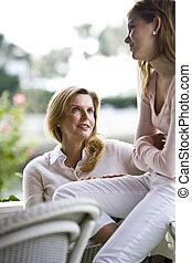 conversation, fille, mère