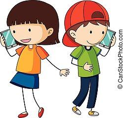 conversation, garçon, girl, cellphone