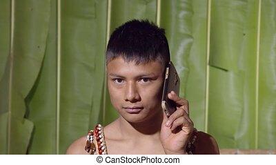 conversation, garçon, jeune, téléphone