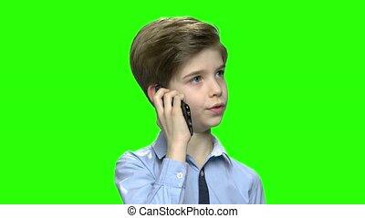 conversation, garçon, téléphone., mignon