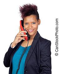 conversation, girl, africaine, téléphone