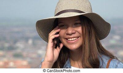 conversation, girl, heureux, téléphone