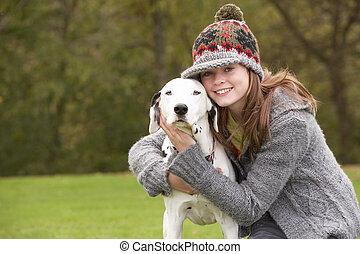 conversation, girl, promenade, chien, jeune