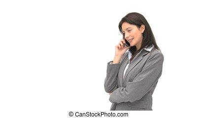 conversation, heureux, femme affaires
