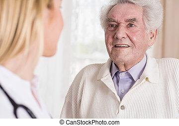 conversation, homme aîné, docteur