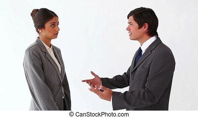 conversation, homme affaires, elle, secrétaire