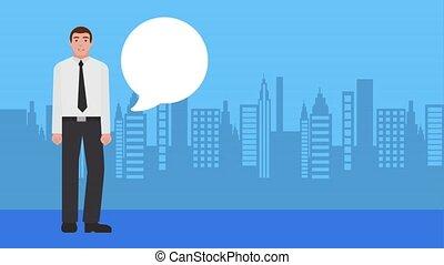 conversation, homme affaires, fond, ville