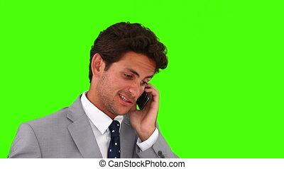 conversation, homme affaires, jeune, téléphone