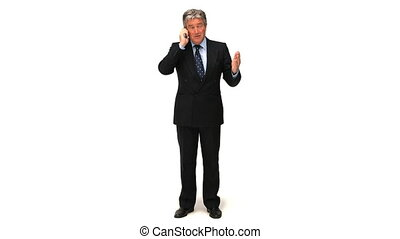 conversation, homme affaires, personnes agées, téléphone