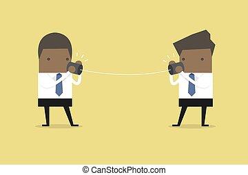 conversation, homme affaires, téléphone., boîte, africaine