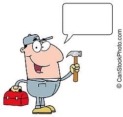 conversation, homme pratique, à, caisseà outils