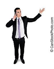 conversation, homme, téléphone affaires