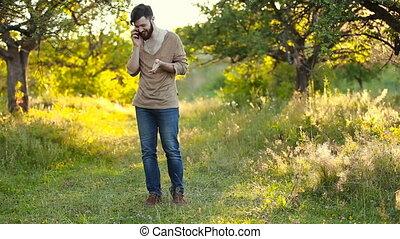conversation, homme, téléphone