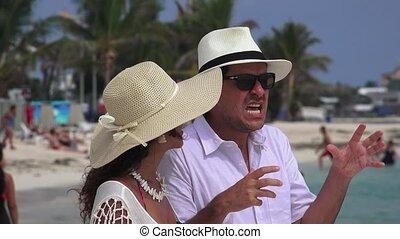 conversation, homme, vacances, épouse