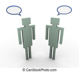 conversation, hommes, 3d