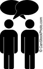 conversation, hommes, silhouette, deux