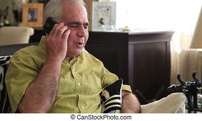 conversation, hommes, téléphone